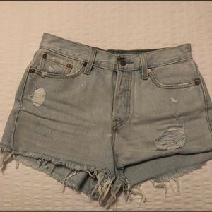 Levi's High-Waisted Distressed Light Blue Shorts